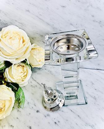 Encensoir cristal TRAVEL XL SILVER ARD AL ZAAFARAN parfumerie oriental Bakhoor encens parfum d'intérieur